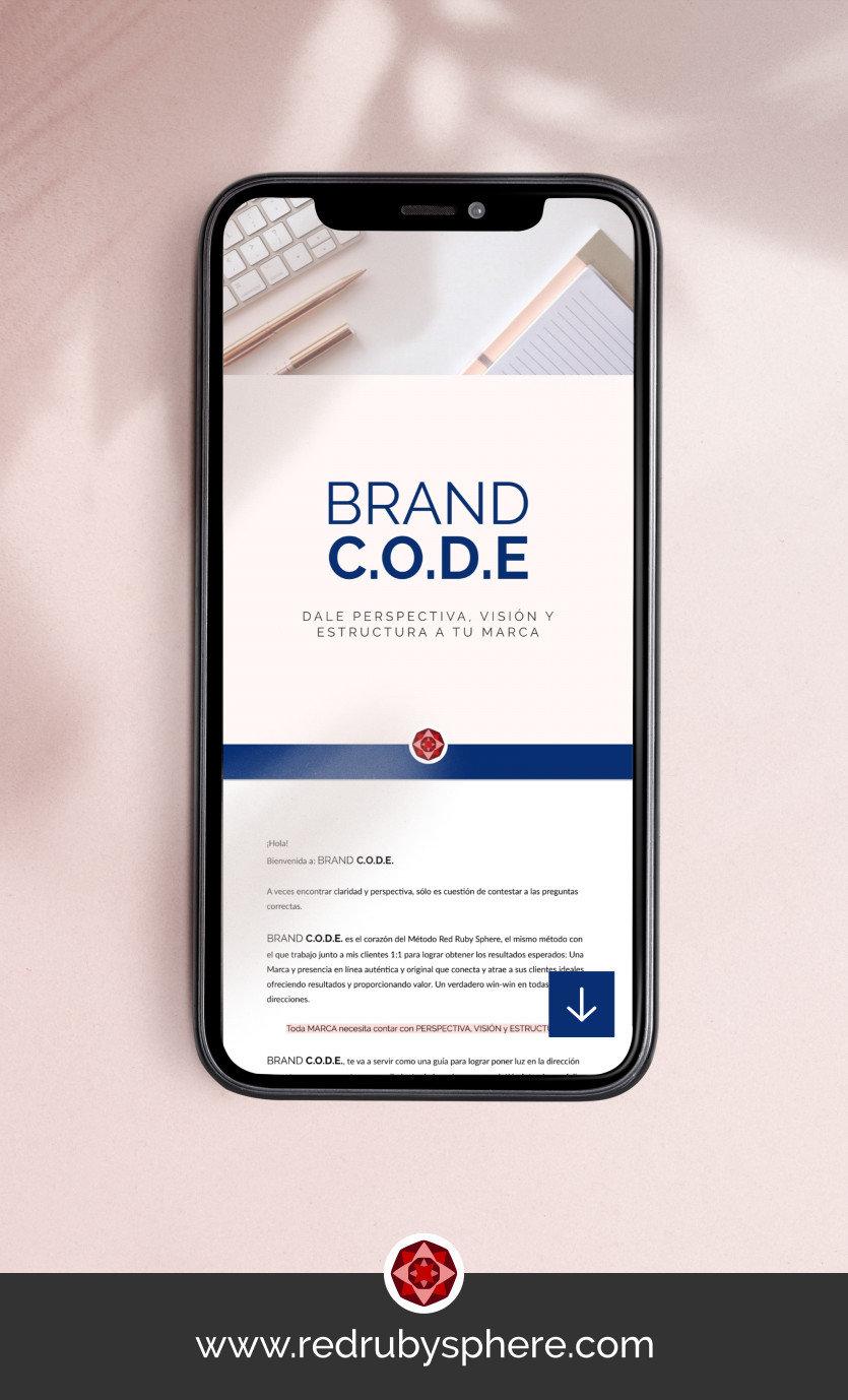 Descarga Brand C.O.D.E. tu cuaderno de trabajo | Red Ruby Sphere by Alma Seidel | Estrategia de Marca & Diseno Web